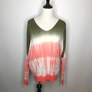 Kut From The Kloth Top Sz L Tie Dye Dolman Sleeve